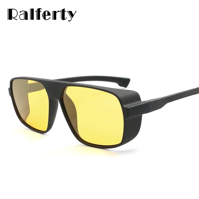 Ralferty HD 편광 된 나이트 비전 안경 남자 노란색 렌즈 드라이버 안전 안경 남성 안티 글레어 고글 Steampunk 고글 K1015