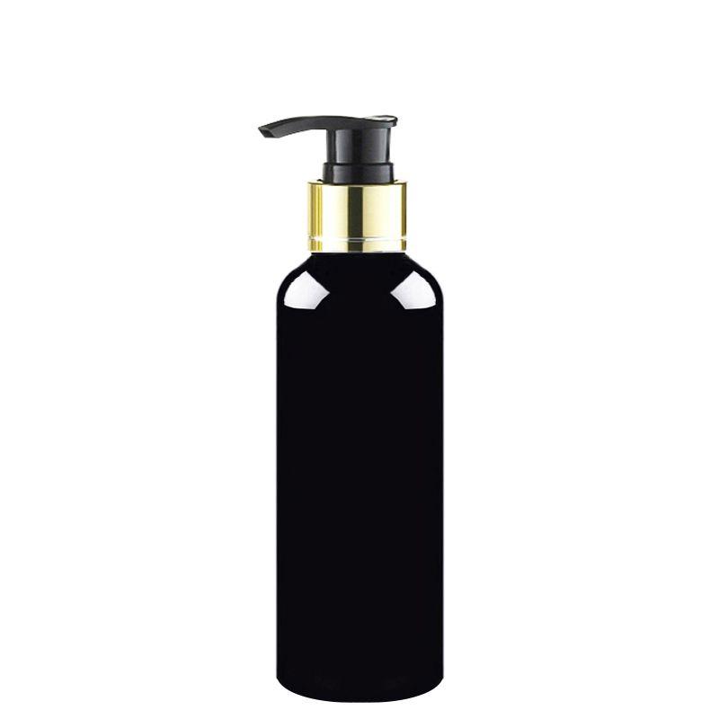 30 adet 100/150/200/250 ml siyah kozmetik vücut losyonu konteyner ile altın yaka pompa losyon şampuan şişesi kozmetik ambalaj konteyner
