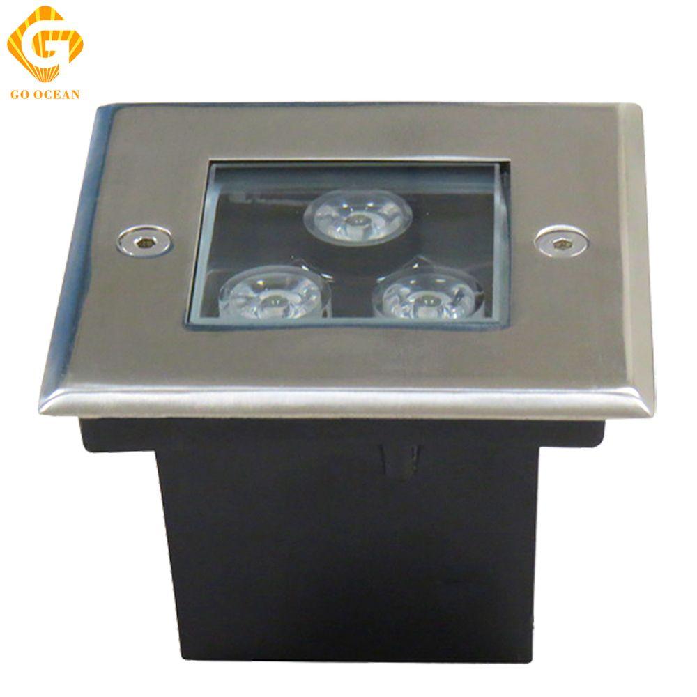 ضوء تحت الأرض LED 3W 4W 5W 6W 9W 12W 16W 24W 36W مصابيح أرضية مربعة DC12V أو 85-265VAC IP67 دفن الطابق مصباح المناظر الطبيعية