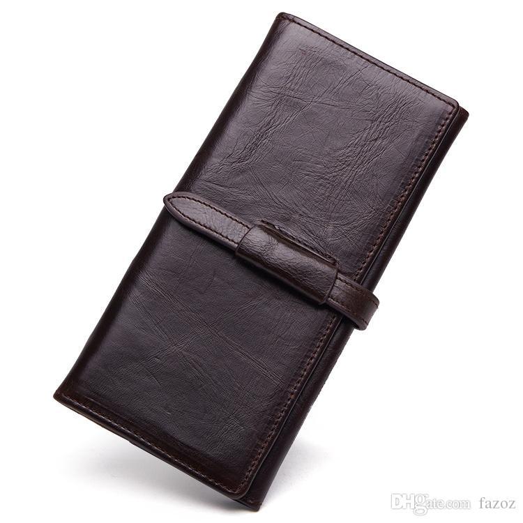 새로운 빈티지 남성 Bifold 긴 정품 가죽 지갑 복고풍 비즈니스 캐주얼 돈 카드 홀더 가방 지퍼 동전 포켓 클러치 지갑