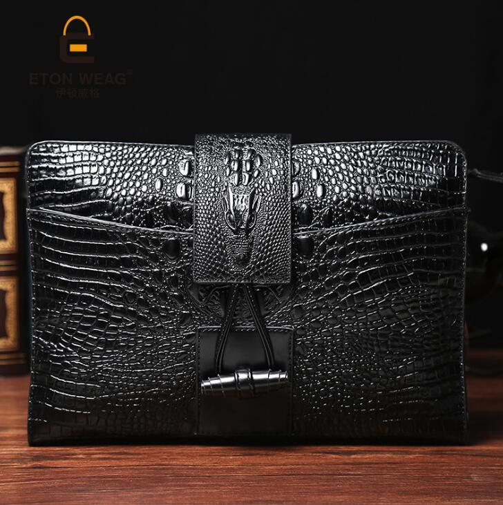 factory brand new package crocodile lines men hand bag briefcase embossed men leisure restoring ancient ways leading buckles mens hand bag