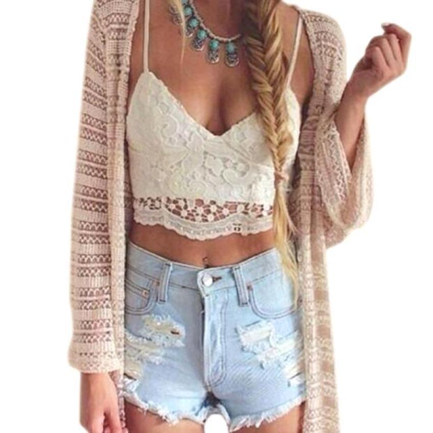 Dentelle Gilet Femmes Crochet Réservoir Camisole Blouse Bralette Soutien-Gorge Crop Top Sans Manches Blanc Mode Gilet 17Aug16