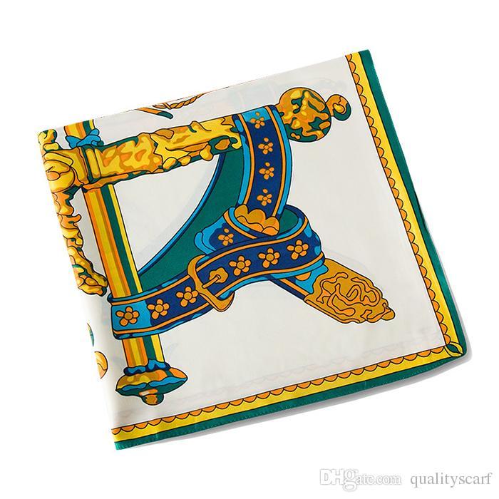 Handgemachte Twill-Platz-Schal für Damen Schal und Tücher Foulard Femme Poncho Retro goldenen Großer Seidenschals Großhandels