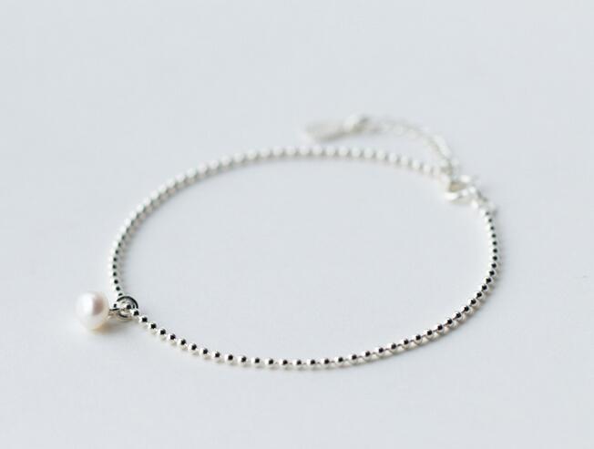 1 pc 925 jóias de prata esterlina sMALL Natural botão de água doce pérola Beads cadeia pulseira charme gtls421 S18101507