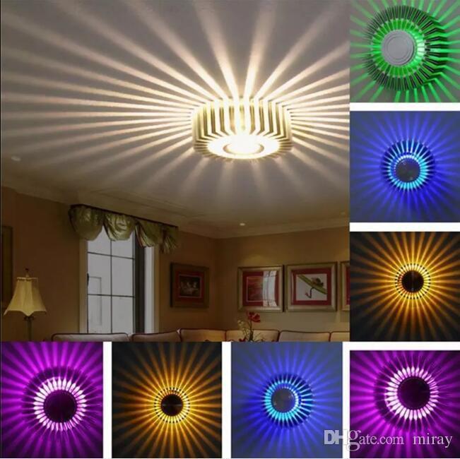 3 W Fan Yıldız LED Duvar Işık Aplikleri Fikstür Işıklar Lamba Lambaları Arka Plan Işıkları Güneş Etkisi KTV Bar Aydınlatma Duvara Monte / Ressessed