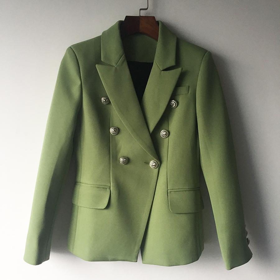 높은 품질 새로운 패션 자켓 자켓 여성 사자 금속 버튼 더블 브레스트 재킷 외부 코트 그린