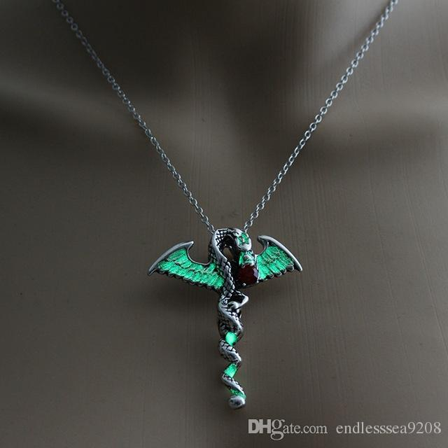 Luminous Glow in the Dark Dragon Cross Necklace Pendant Punk Vintage Jewelry US