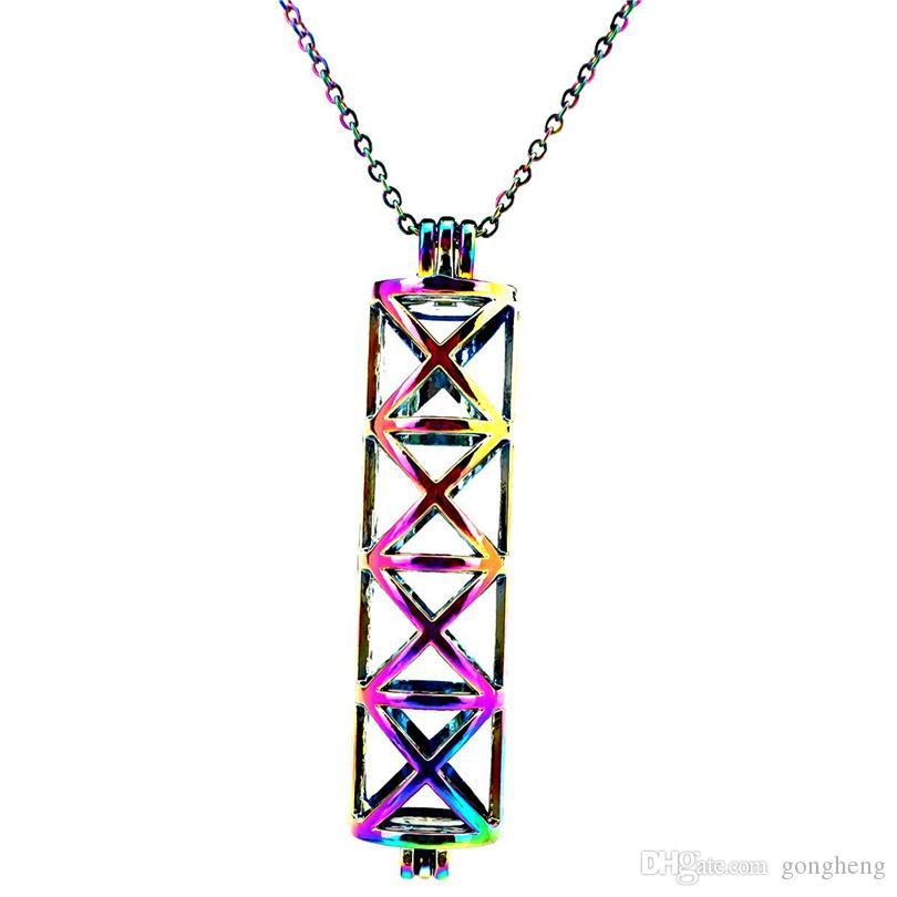 C175 Arcobaleno Cilindro lungo Ciondolo a forma di croce Ciondolo Ciondolo Ciondolo olio essenziale Aromaterapia Ciondolo collana ciondolo medaglione