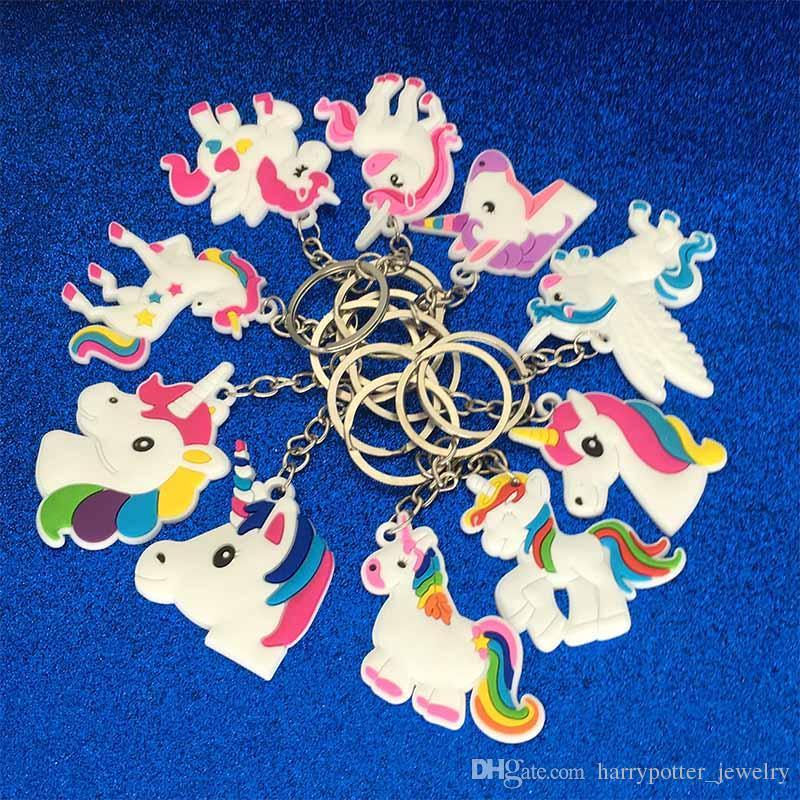 Cadenas del anillo dominante del unicornio nueva bolsa de PVC llavero Cuelgue colgante llavero de plástico joyería Accesorios de moda la voluntad y la nave de la gota de arena