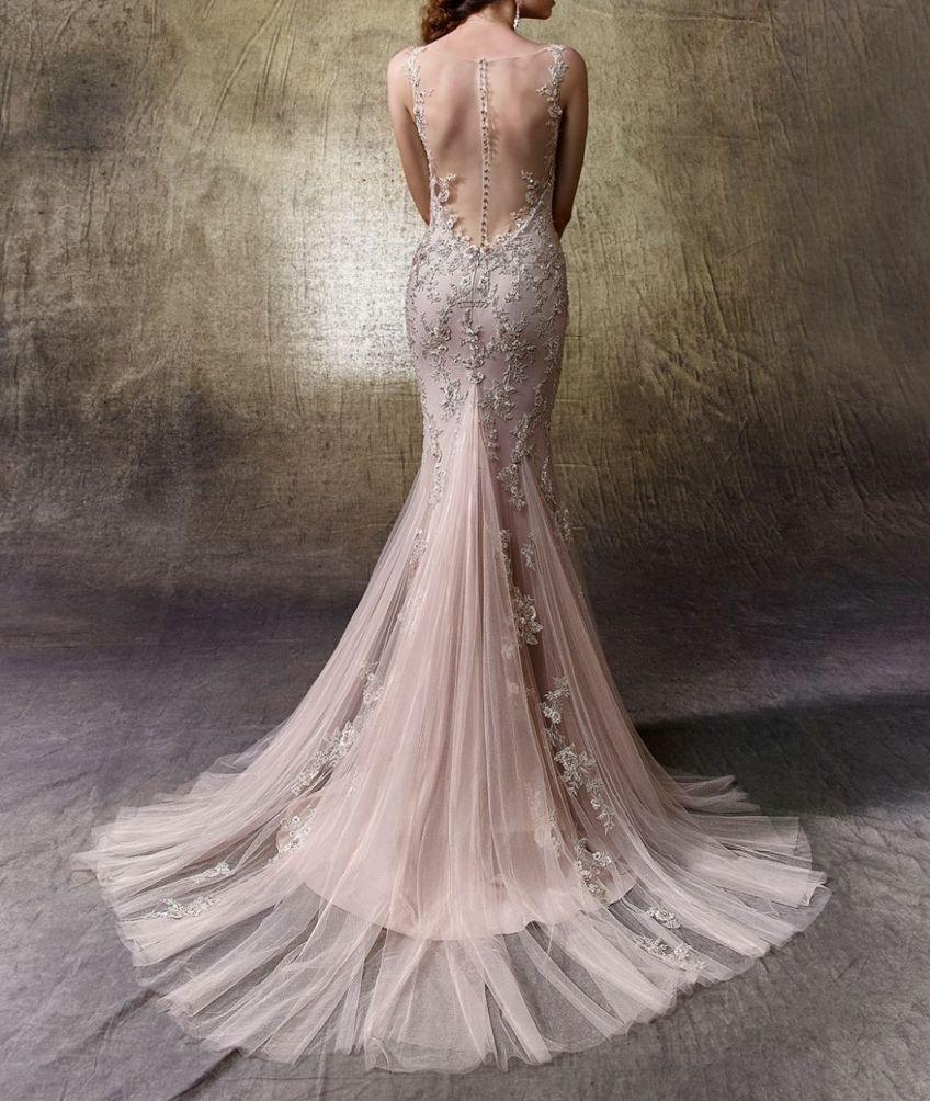 Großhandel Rose Gold Brautkleid Mermaid Fiel Schiere Zurück Bateau Illusion  Ausschnitt Bestickt Lace Luxury Stunning Kleid Für Die Braut Von