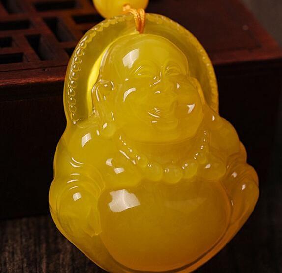 Natural chicken oil yellow beeswax Maitreya Buddha pendant amber stone big belly laughing Buddha carving pendant men and women sweater chain