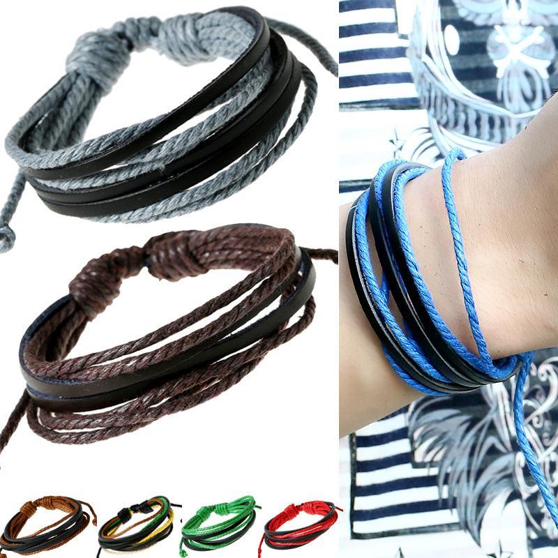 Nagelneue Großhandelslose 48X Hanf Leder Handgemachte Braid Armbänder Armband Manschette Geschenk Einstellbar Kostenloser Versand (Gemischte Charge)