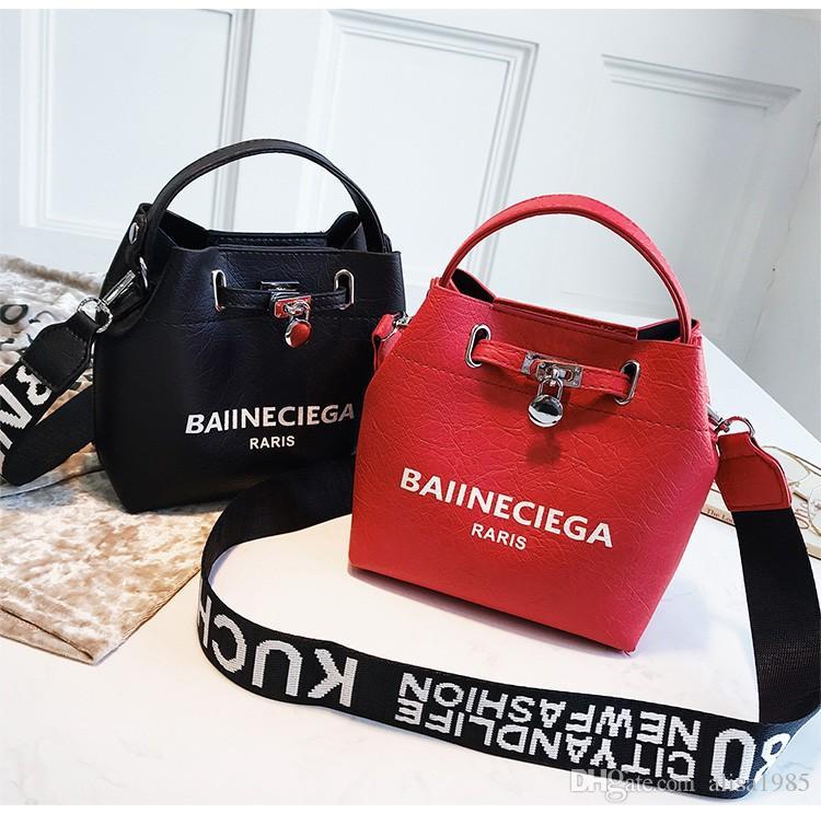 Moda Balde sacos de Designer de Couro PU Ombro Mensageiro Cruz corpo Bolsa de Largura Alça Sacos Femininos Sacos Bolsas Femininas Jinshi / 8