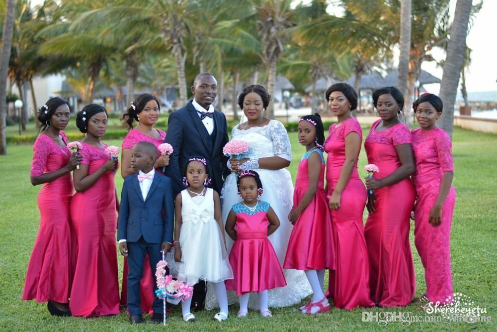 Gorący Różowy Nigerii Styl Arabski Syrenka Druhna Dresses Sheer Neck Krótkie Rękawy Koronki Plus Rozmiar Tanie Suknie Party Wedding Guest Party