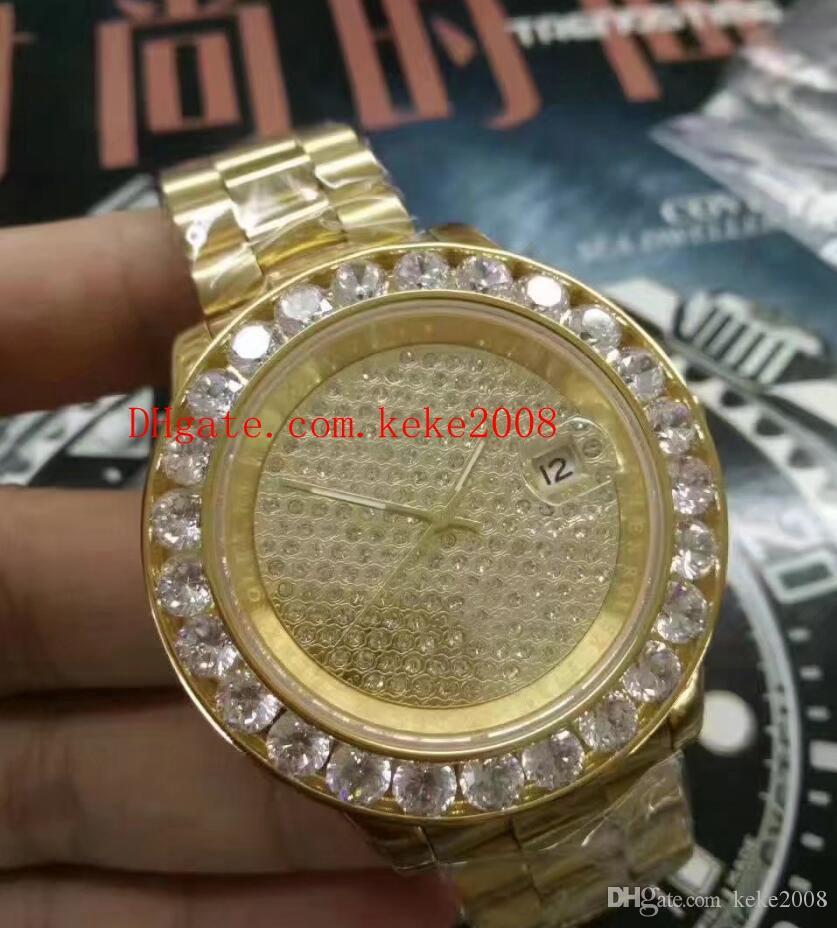 8 orologi di lusso di alta qualità dell'orologio 44 millimetri Datejust Presidente Big Diamond Bezel 18k oro giallo Asia 2813 movimento Mens Orologi automatici