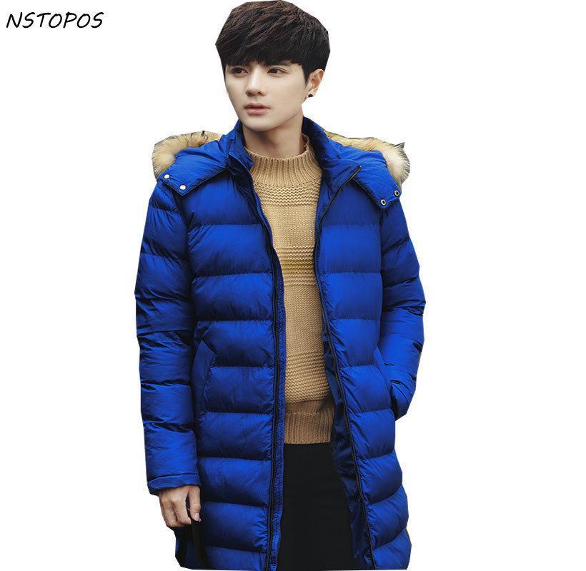 Long Mens Fur Parka 2017 Winter Coat Men Blue Warm Stylish Winter Jackets Men Slim Fit Mens Parkas Manteau Homme Hiver
