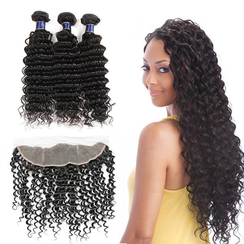 8A Mongolian Deep Wave Curly 3 paquetes con cierre de cordón Sin procesar Mongolian Deep Wave Mongolian Extensión de cabello humano con encaje frontal