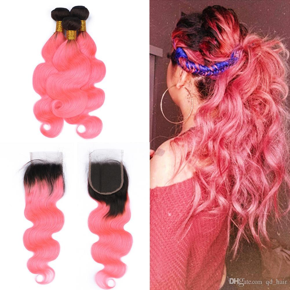 Два цвета тела волна волос утка расширения с закрытием 4x4 Ombre 1b ярко-розовый девственные волосы 3Bundles с закрытием кружева с волосами младенца