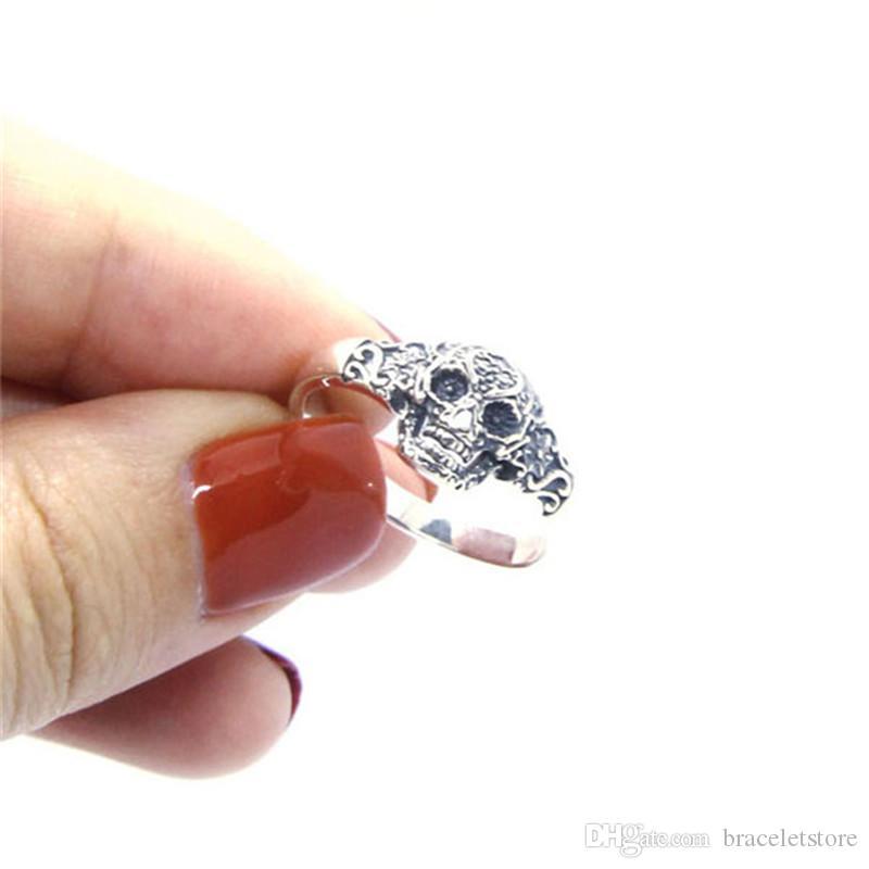 Frete Grátis Tamanho 6-10 Lady Girls 925 Sterling Silver Ring Jóias Mais Novo S925 Top Quality Sparta Skull Ring