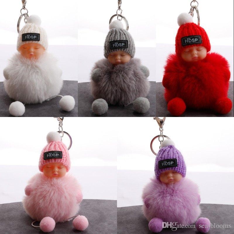 Симпатичные спящие детские куклы съемки для женской сумки Ключное кольцо 8 см Пушистый помпам из искусственного меха шариковых килограммов Trinket Ювелирные изделия 5 стилей Kimter-H605Q A