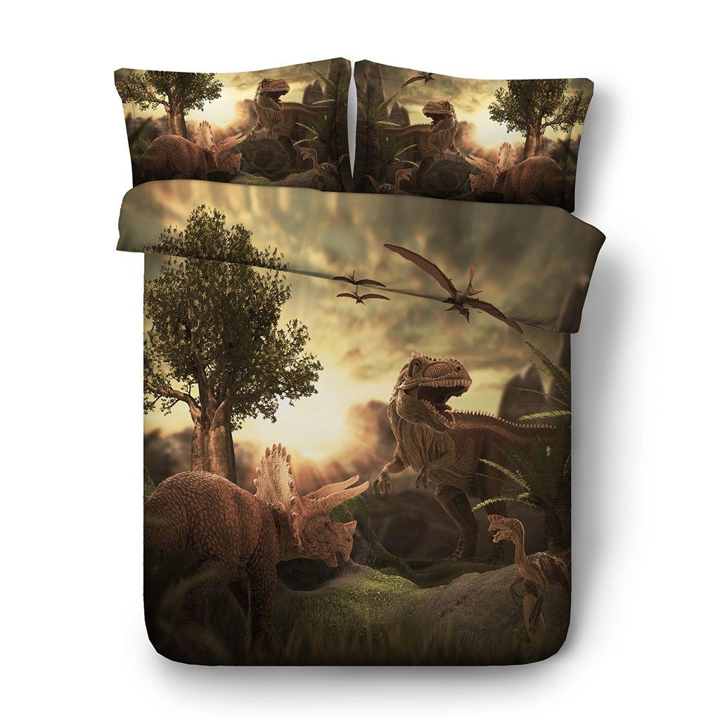 3D Duvet Cover sunset Dinosaur Bedding Sets Animal Bedspreads Holiday Quilt Covers Bed Linen Pillow Covers Elk Snowman Beach Theme queen