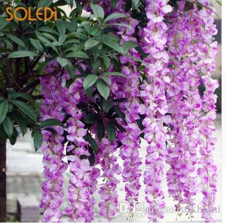 Fake Flower String Simulation Flower Vines Elegante paño de seda 3 cabezas Decoración de la puerta Wedding Party Props Home Garden