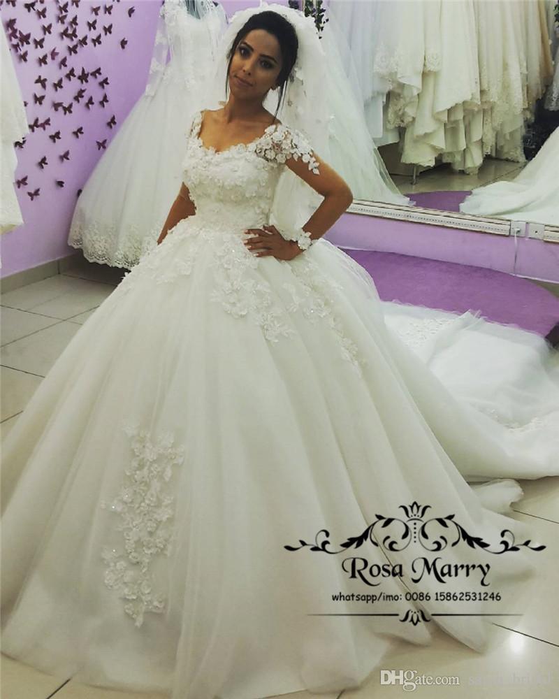 Романтическое 3D-цветочное бальное платье с кружевными свадебными платьями 2020 плюс размер с длинными рукавами арабский викторианский мусульманский Vestido De Novia Дубай Свадебные платья