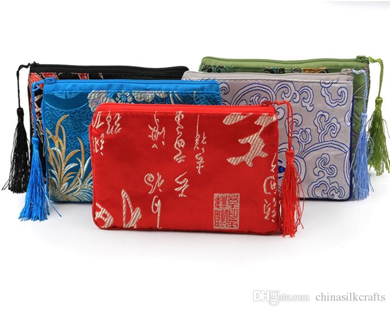 Хлопок заполнены утолщаются кисточкой ткань телефон сумка молния портмоне рождественские сумки подарочная сумка Шелковая парча ювелирные изделия упаковка сумки 10 шт. / лот