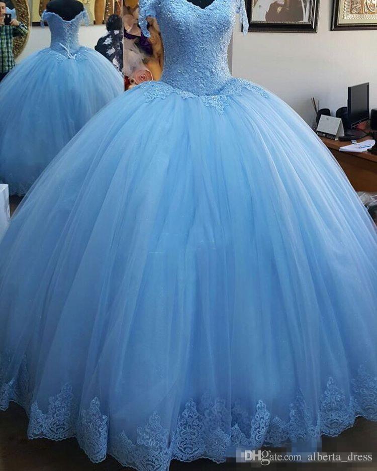 Lekki Błękitna Suknia Balowa Princess Quinceanera Dresses Cap Sleeve Aplikacje Nowy Tulle Lace Up Powrót Prom Dresses Sweet 16 Urodziny Suknie