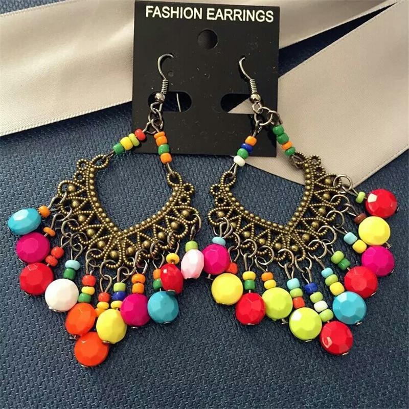 Retro Tassel Bohemia Earrings For Women Big Drop Earrings Fashion Jewelry Beads Trendy Long Dangle Earrings