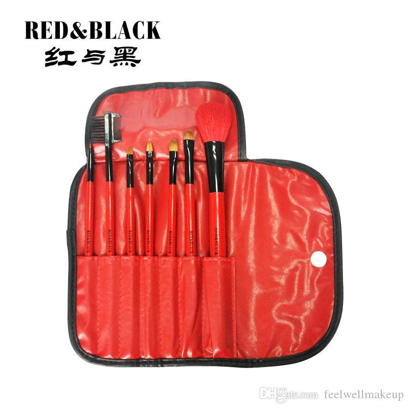 RedBlack 7brushes set red handhandle sombra de ojos rubor en pincel delineador de ojos pincel de maquillaje pinceles de belleza estética