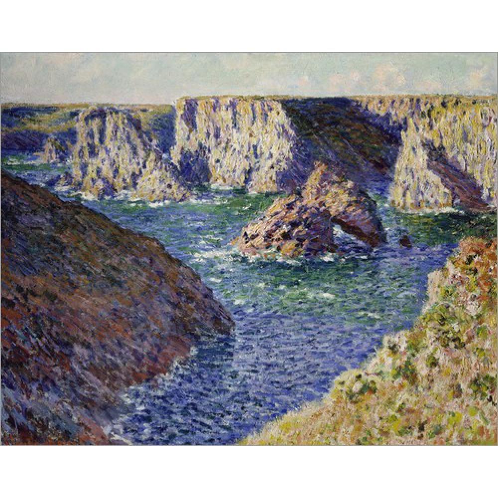 Pintados à mão Claude Monet pinturas a óleo lona As rochas de Belle Ile. Na arte moderna Decoração de parede de paisagem
