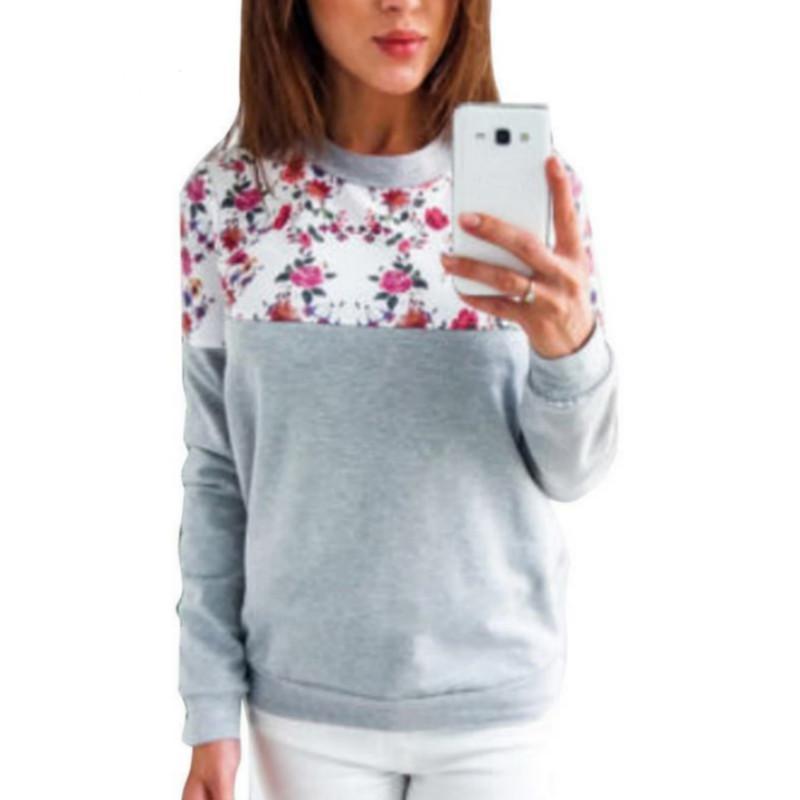 Felpe con stampa floreale Pullover donna 2018 Autunno Harajuku Pullover sottile Felpa Tops Casual Tuta Plus Size Top