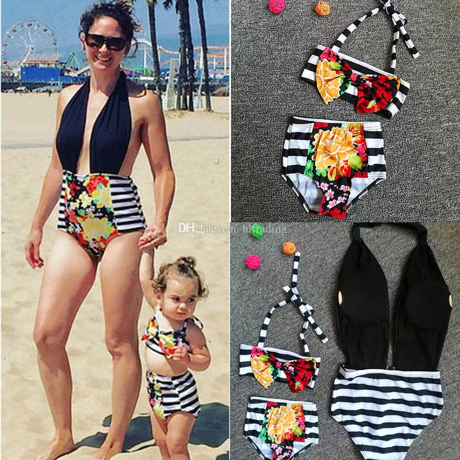 Family Matching Outfits Floral Mother and daughter swimwear outfits 2018 Mother and daughter Swimsuit Striped flowers Bikinis 2pcs/set C3498