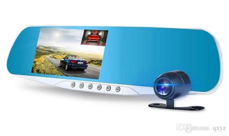 "2CH سيارة DVR dashcam السيارة مرآة الزجاج الأمامي مسجل فيديو كامل 1080p HD 4.3 ""170 ° ليل مراقبة وقوف السيارات الرؤية G-استشعار سيارة الصندوق الأسود"