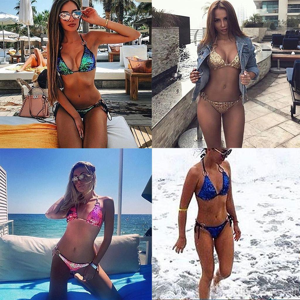 2018 nouveau bikini sexy sertie de maillots de bain doux paillettes-maillots de bain sexy coloré 4 couleurs maillot de bain brillante style bikini brillant
