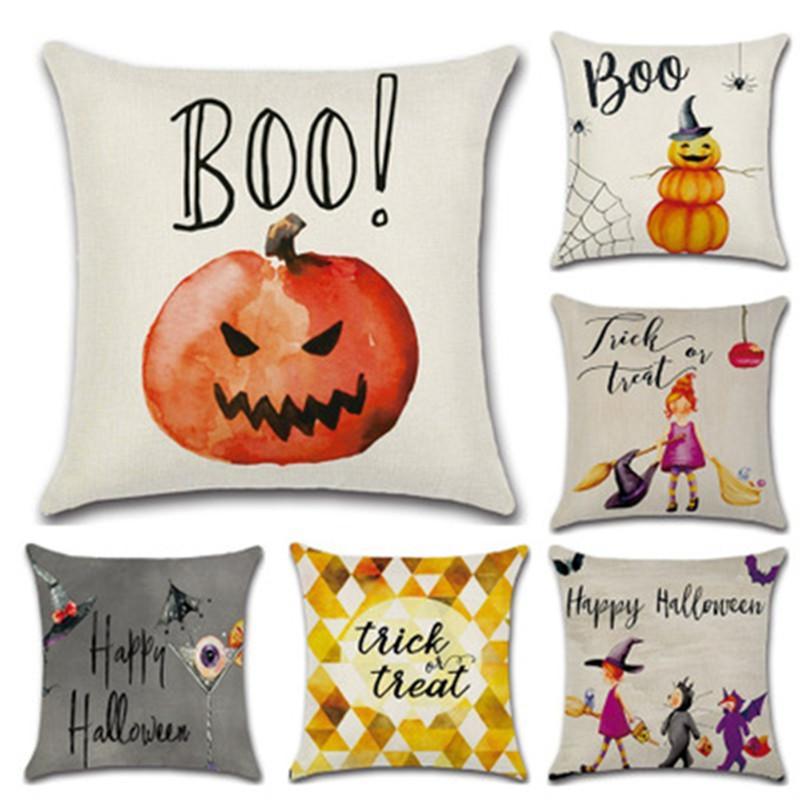 Acheter Halloween Taie Doreiller En Lin Dessin Animé Citrouille Petite Sorcière Housse De Coussin Canapé Jeté Coussin Halloween Décor à La Maison 6