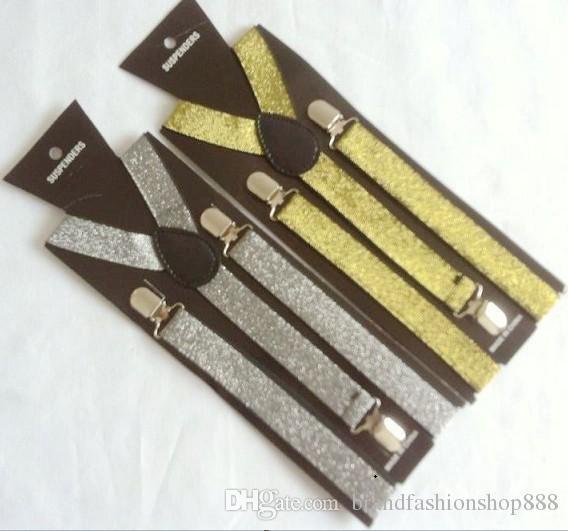 2.5X100CM gold silver wire Adjustable Women/Men Y-back Adult Suspenders 3 Clip-on Elastic braces Children Belts Children trousers Straps