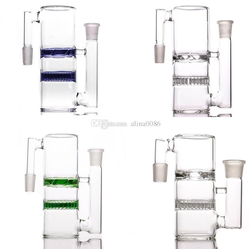 Coppella di vetro spessa di alta qualità a nido d'ape e turbina 14-14 18-18 raccogli cenere per tubi d'acqua in vetro