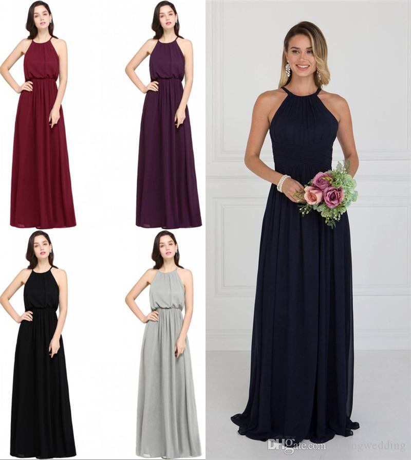 Demoiselles d'honneur robes longue élégante élégante magnifique sol sexy ô longueur longueur 2019 nouvelle arrivée des demoiselles d'honneur pourpre cps618