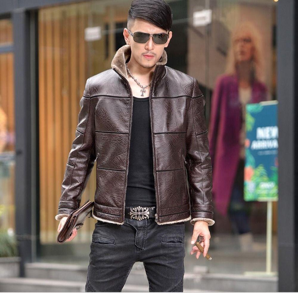 S-5XL SıCAK 2016 kış Yeni erkek kürk palto standı yaka Kore Slim gelgit erkek Deri ceket sıcak giyim Motosiklet ceket