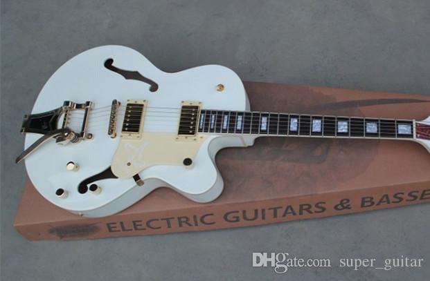 Brand New Popular Custom Shop White Falcon Semi Hollow Body 6120 Jazz Electric Guitar With Tremolo Golden Hardware
