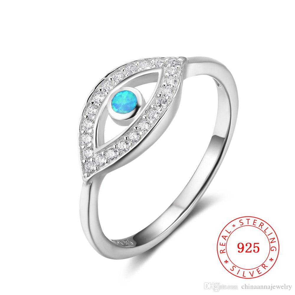 925 Sterling Silver Opal Stones Evil Eye Anneau Femmes Zircon Micro Cadre Bijoux Guangzhou Bagues à la main Haute Qualité Grossistes