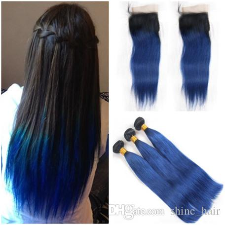 Straight 1bblue Ombre Brazilian Human Hair 3 Bundles Deals With 4x4 Lace Closure Dark Rooted Ombre Blue Human Hair Weaves With Closure Outre Human