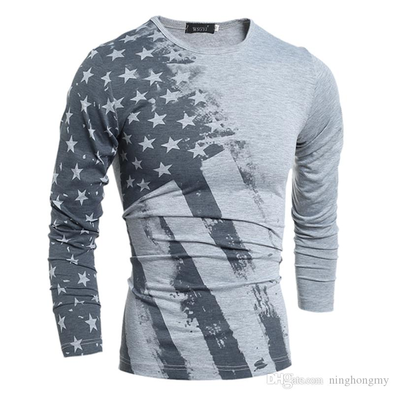 Wholesale American Flag T-shirt Men Sexy 3D Print Tshirt Slim Fashion Striped USA Flag Long Sleeve T Shirt Casual Tops Tees Free Shipping