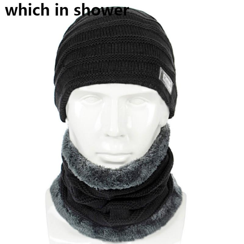 men scarf hat set solid thickened warm fleece liner male winter hat scarf set knitted beanie neck warmer autumn cap