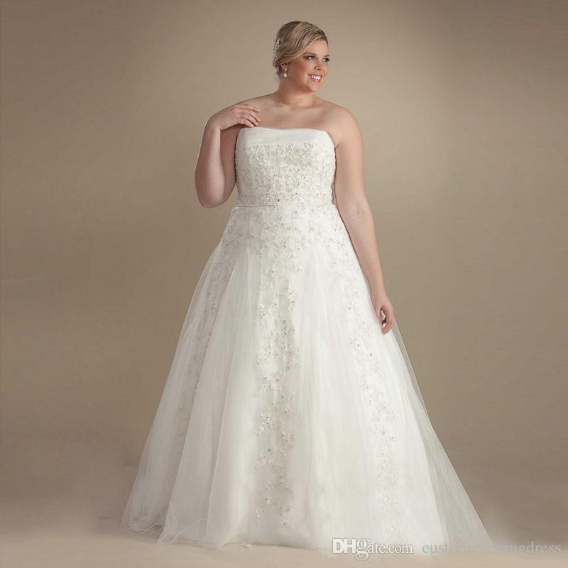 2018 Custom Bodice Ball Gown Wedding Dresses Plus Size Strapless Beaded Sequins Tulle Bridal Gown Vestido de noiva with Belt