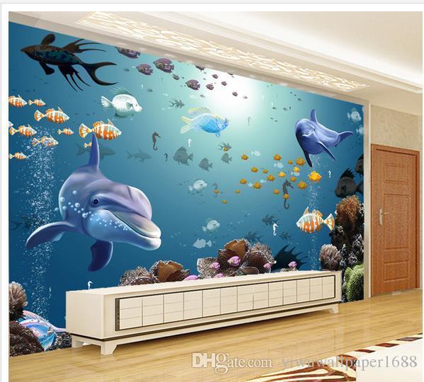 3D подводный морской мир аквариум тропические рыбы ТВ фон стены 3d настенные фрески обои