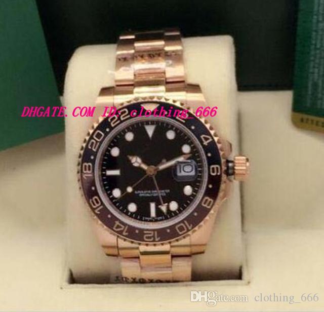 Nuevo estilo Relojes de lujo II 18K Rosa ORO INOXIDABLE 126715 Negro Dial Negro / Marrón Bisel de cerámica 40 mm Reloj de hombre de moda automático