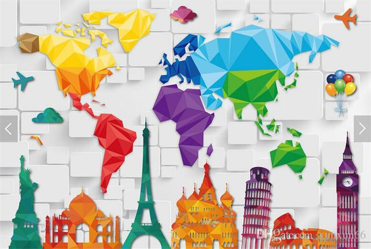 Kids Bedroom Wallpaper Colorful World Map Abstract Wallpapers Wall